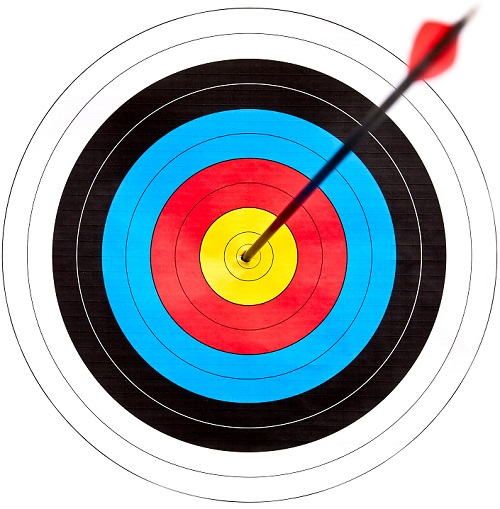 Archery target with arrow in the bullseye